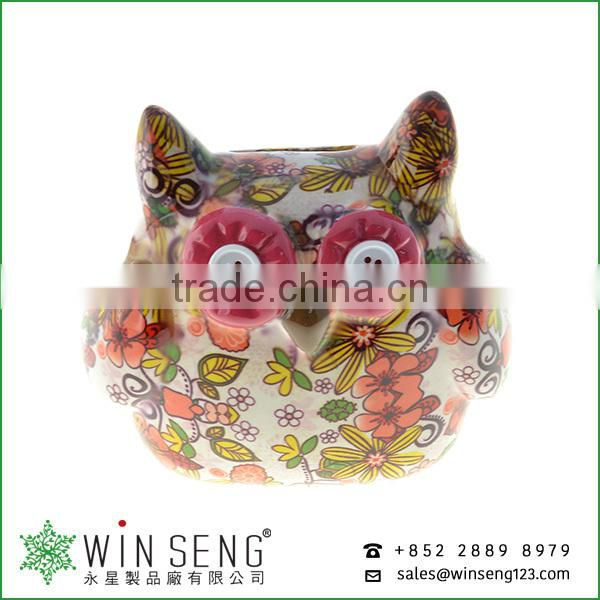 best toys for 2015 christmas gift owl shape flower patterns ceramic animal piggy bank for decoration