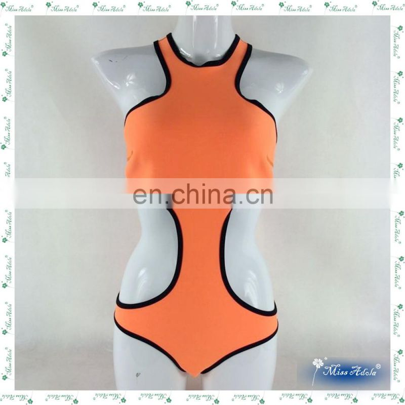 MissAdola Neoprene Women two pieces OEM Rubber swimsuit Beautiful Zipper swimwear diving wetsuit (M80)