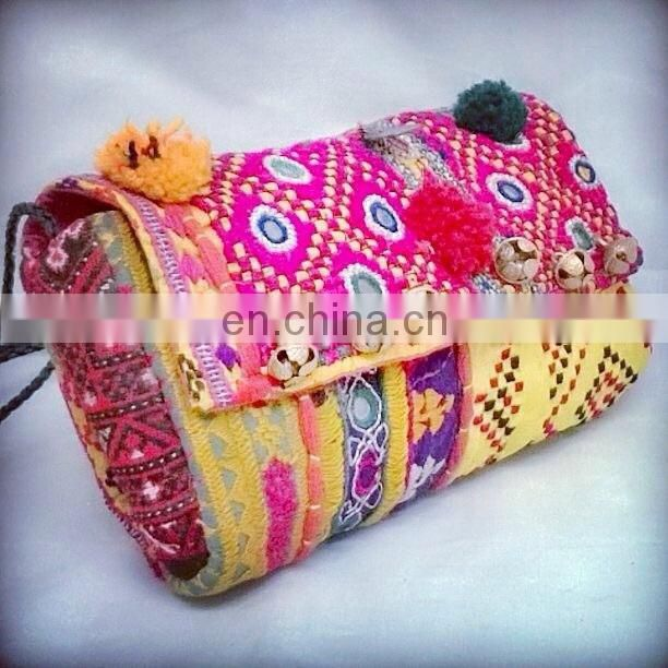 INDIAN VINTAGE EMBROIDERED HANDMADE PURSE BANJARA BAG CLUTCH