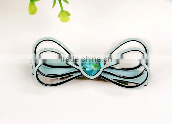 2015 new design luxury hair jewelry acrylic hair clip fashion butterfly rhinestone hair barrette