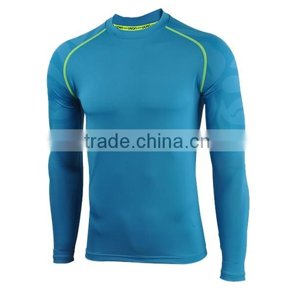 Breathable professional customized skin wear fitness t-shirt jersey fabric type gym tights men