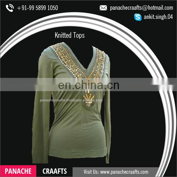 Ladies Fashion Knitted Embroidery Tank Tops