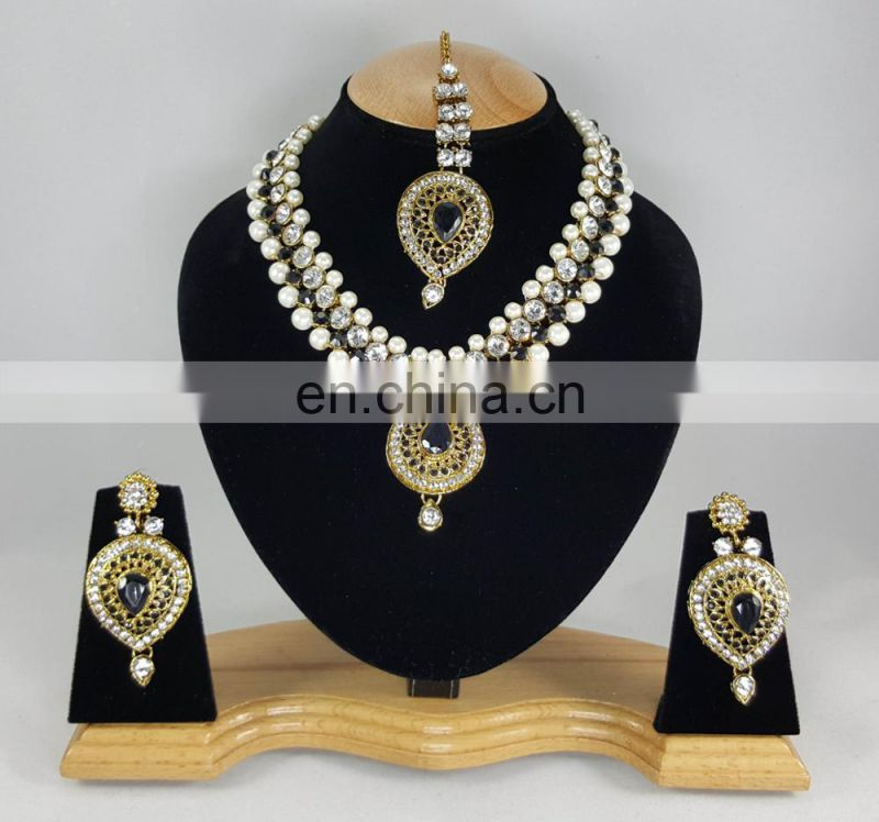 Western Designer Beautiful Pearl Crystal Black Stone Gold Plated Wedding Collection Kundan Zerconic Necklace set