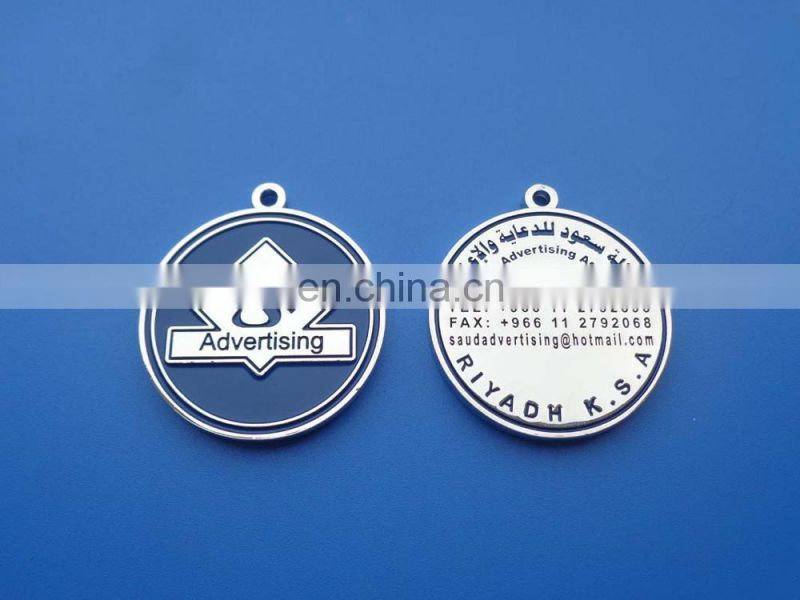 Silver round 3D embossed lion design metal pendant for necklace