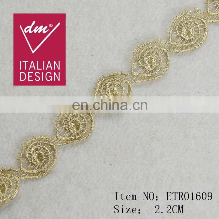 Top hot design fashion eye shape gold lurex tape for wholesale trim
