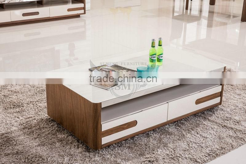 2015 MDF White Glass Top Center Table Design, Glass Top Conference Table,living  Room