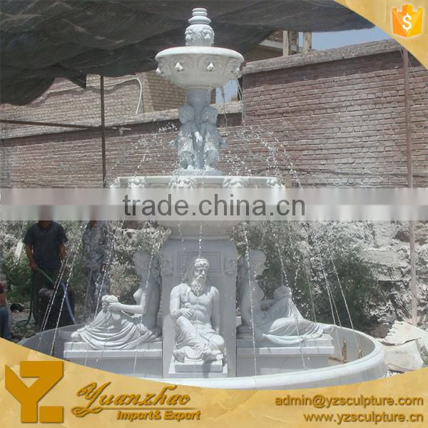 large size outdoor landscape city marble large fountain with Roman statue made in China