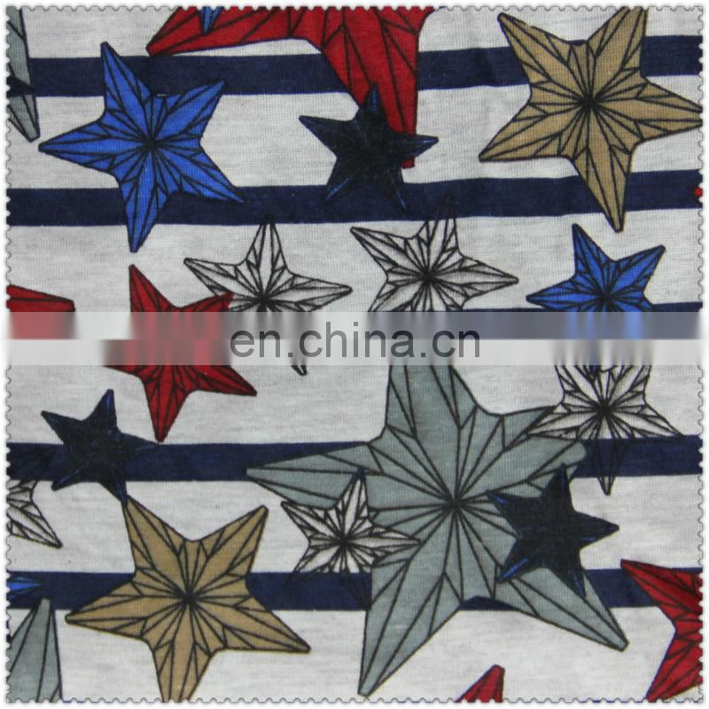 100 knitted cotton fabric printed stars cheap price