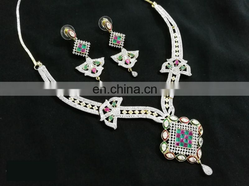 Butterfly Multi-Color Designer Gold Plated American Diamond Jewelry Necklace Earrings Set