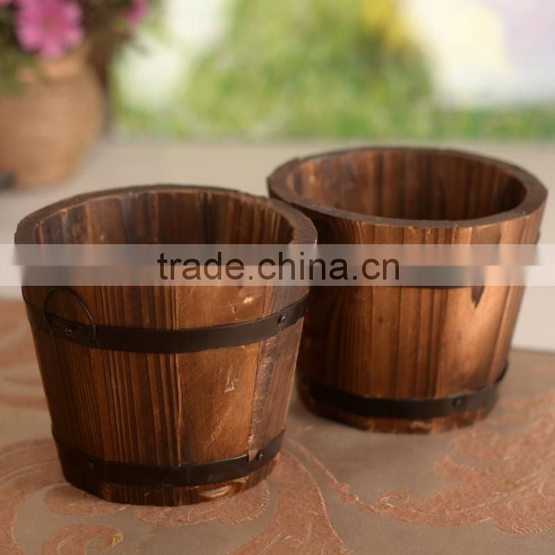 Old Wooden Flower Planters, Barrel Type Wood Round Planter Boxes, Garden Pots Planter Box