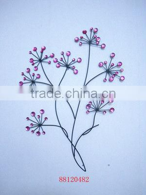 Metal Flower Wall Decor with Color Jewelry