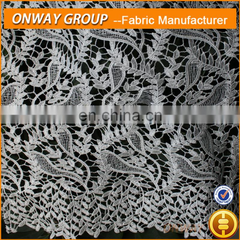 2015 wholesales 100% polyester leaves design african wedding dress guipure lace fabric shaoxing