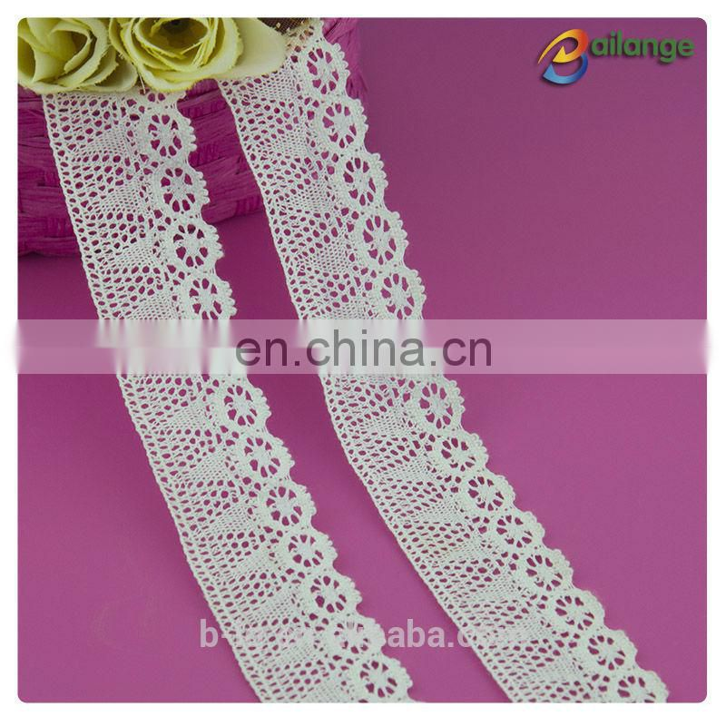100% Cotton material unique design decorate summer hot sale lace dress white