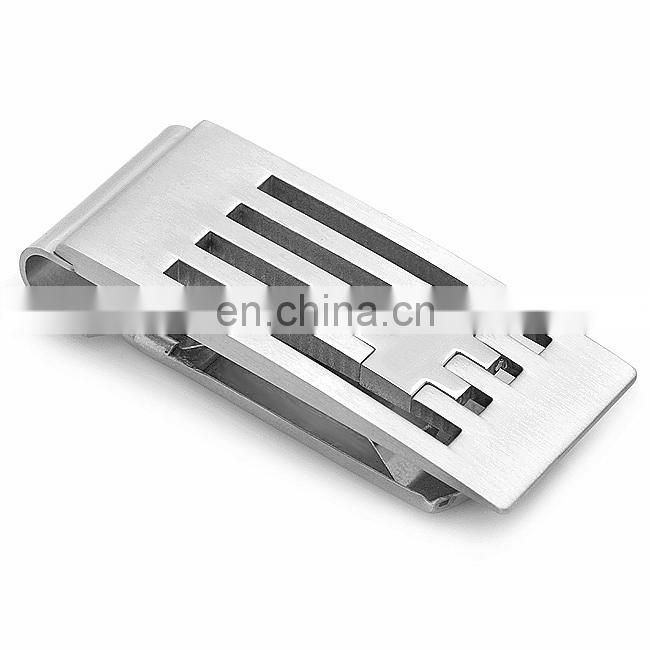 Metal spring loaded money clip with custom design