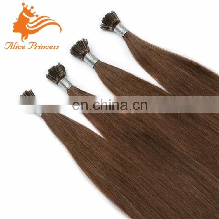 #6 0.5g/s Brown remy stick i-tip Human Hair Extensions 100% High Grade Indian Remy i-tip hair extensions Straight Soft & Smooth