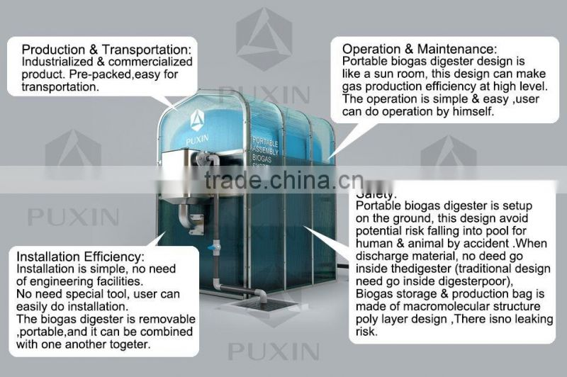 PUXIN brand small biogas plant for food waste disposer of