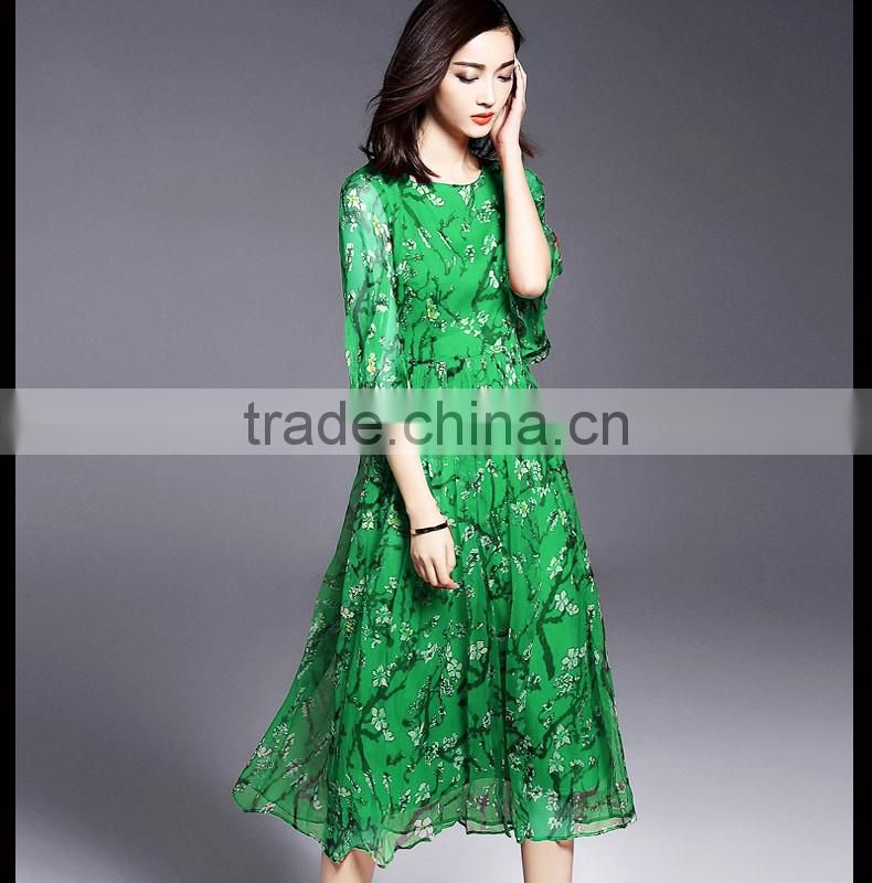 high quality real silk half sleeve round neck printed summer long dress latest dress designs