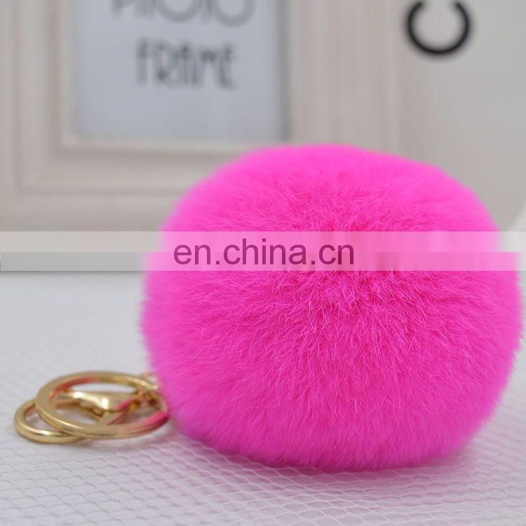 China Supplier Factory wholesale Genuine Rex Rabbit Fur Colorful Pompom Keychain
