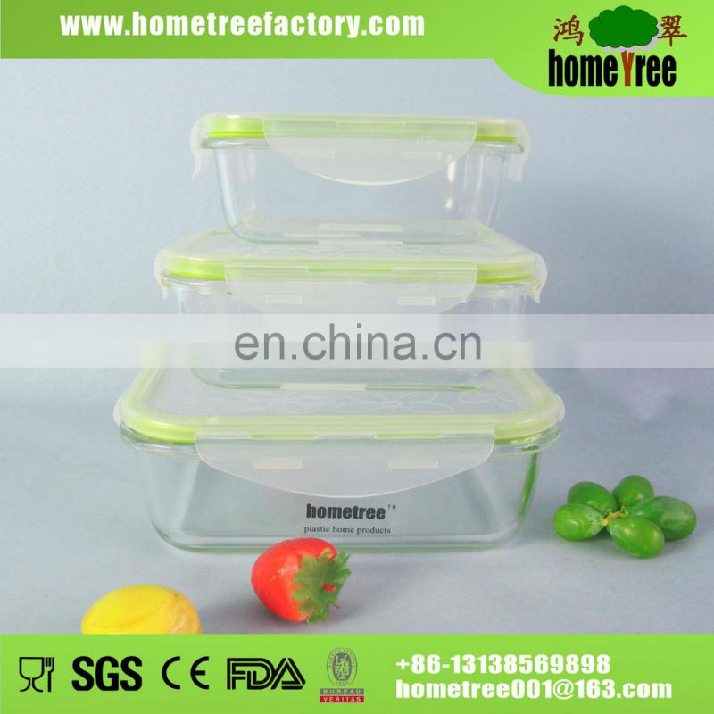 Clear Square Slim Microwave Keep Food Freshness Box Plastic Food Storage Box Set With Handle