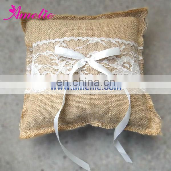 Linen With Lace Decoarted Wedding Ring Holder Pillow Set