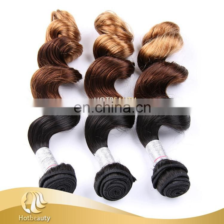 Hot Beauty Hair 3 tone ombre color Peruvian virgin human natural remy extensions hair