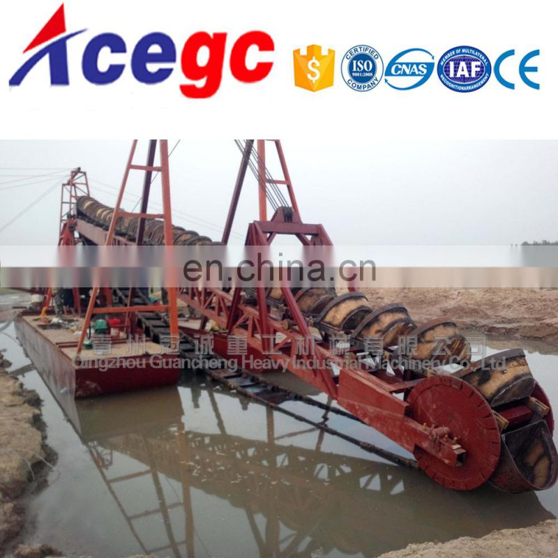 Mini bucket chain wheel gold mining dredge boat equipment for sale Image