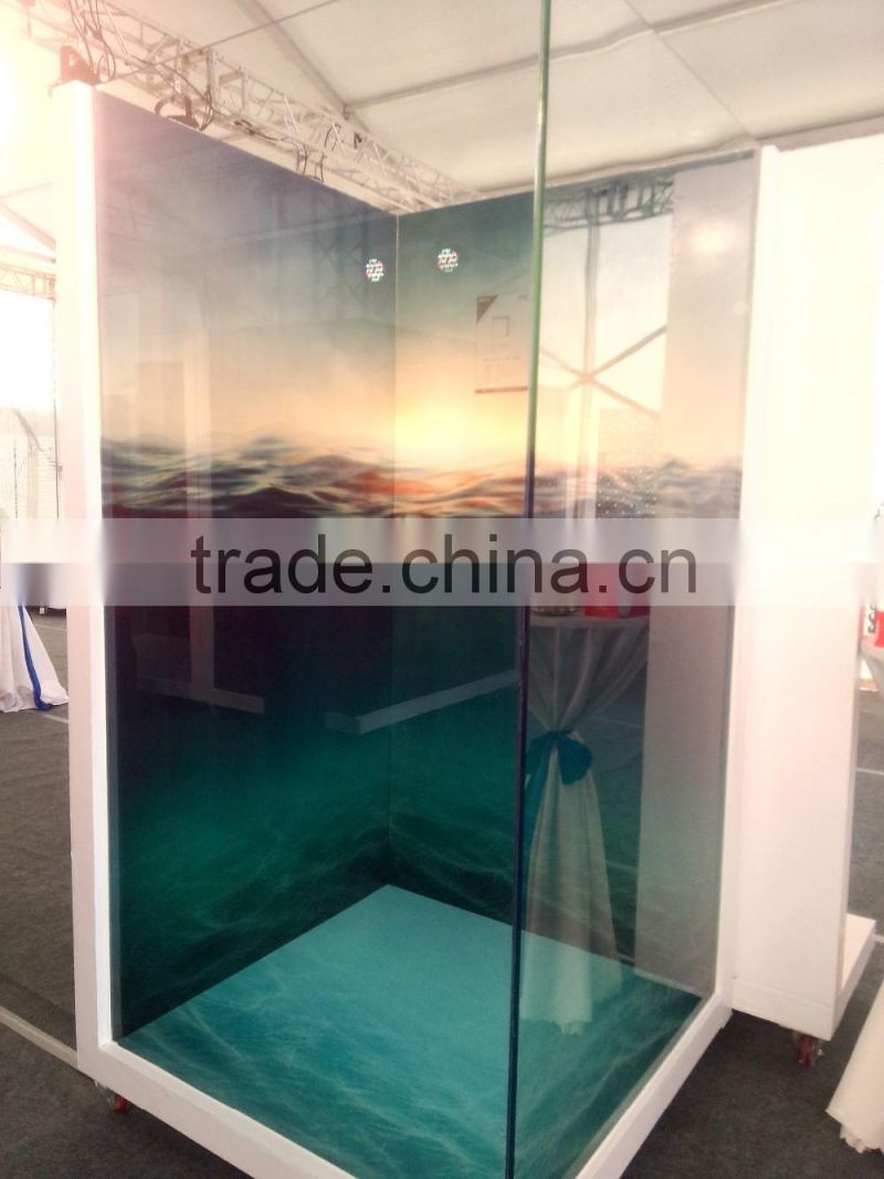 3D Digital printing bathroom tile wall and floor decorative glass tiles tempered glass price per square foot