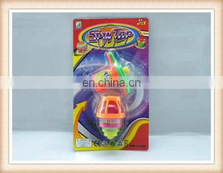 hot sale promotional wind up spinning top with light