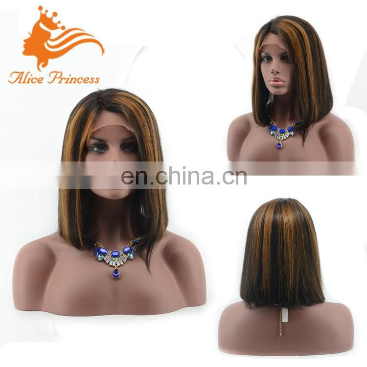 Fast Shipping No Shedding Fashion Color Brazilian Virgin Human Hair Bobcut Style Short Glueless Full Lace Wig
