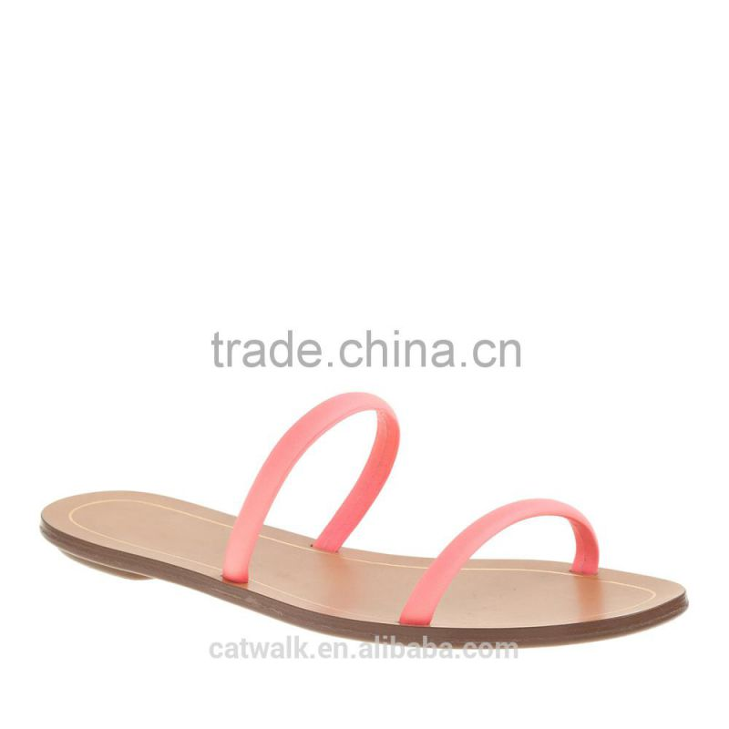2015 New Arrival Brand Women's Summer Fashion Flat Slides Casual Shoes Flat Sandal Orange Women Slippers Lady Sandals