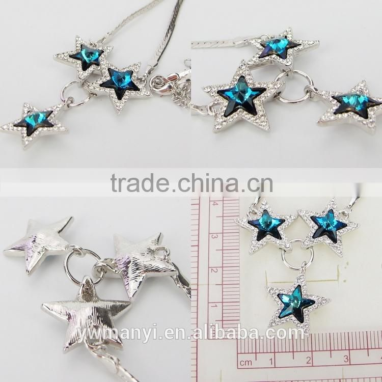 Factory price fashion gemstone type star shape blue crystal pendant necklace N0649