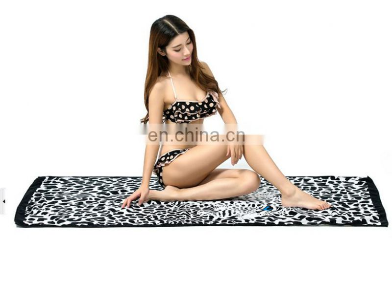 China factory wholesale microfiber reactive printed stripe beach towel