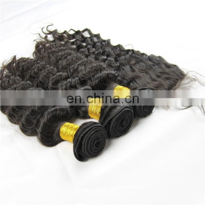 Best human hair extensions supplier in China direct sale natural color 3 bundles and 1 lace closure