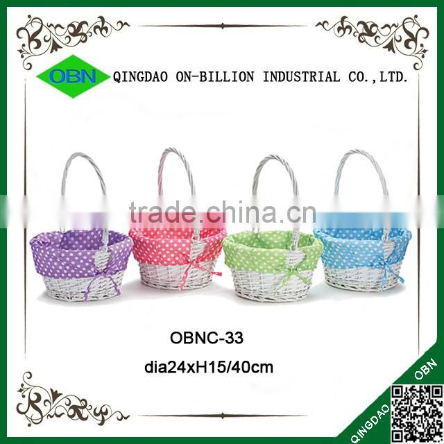 Factory supplier mini white wicker easter basket with cute dots lining