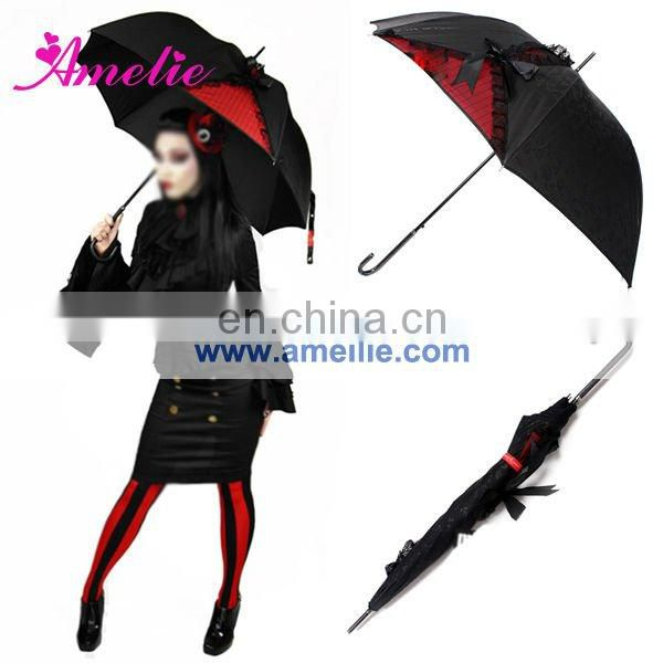 Black and red lace Gothic Lolita Style umbrella halloween props wholesale