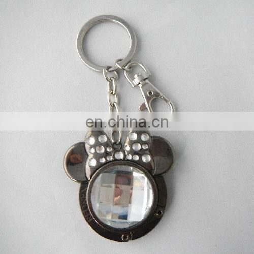 Minnie shaped black custom handbag hooks keyring with shiny acrylic stone