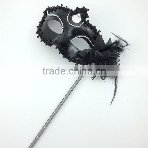Party ladies fashion sexy white Princess Masquerade Masks With Stick venetian mask party supplies