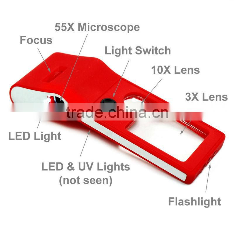 New Mini 3X - 10X - 55X Jewelers Loupe / Magnifier / Microscope with LED & UV Lights