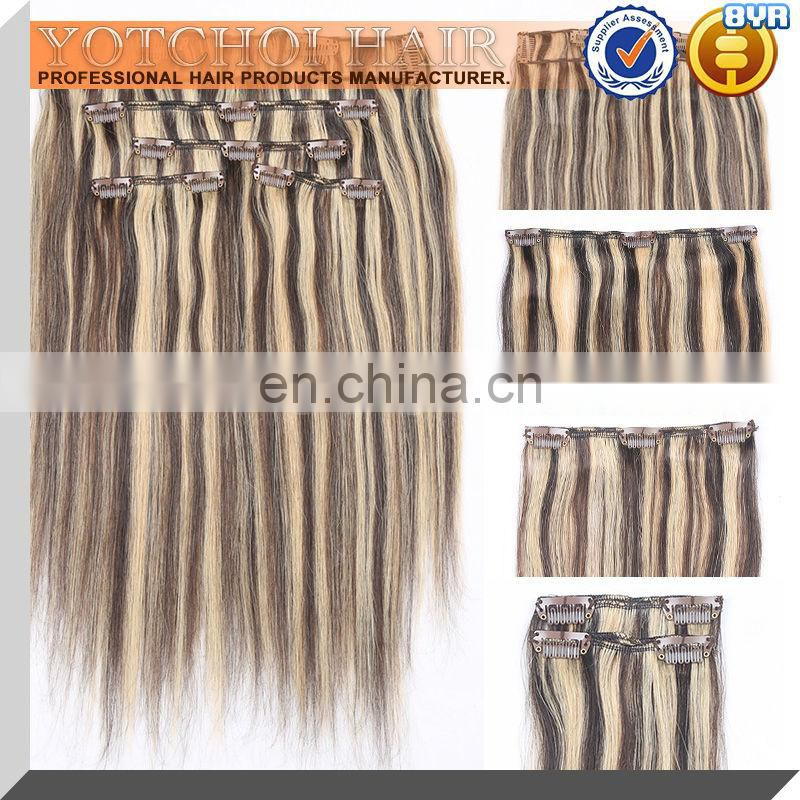 "Factory price HIgh quality fast shipping off black 14"" silky straight clip in hair extensions"