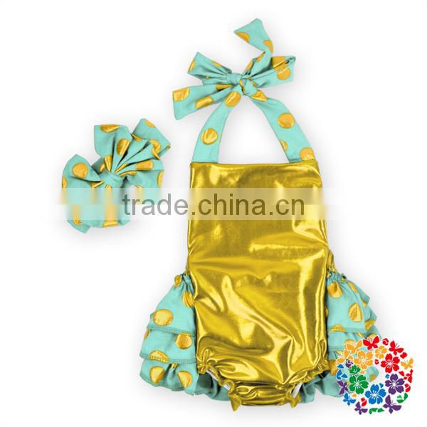 Wholesale Boutique Petti Baby Underwear Girl Diaper Cover Bloomer Metallic Color Ruffle Bloomers Shorts First Birthday Outfit
