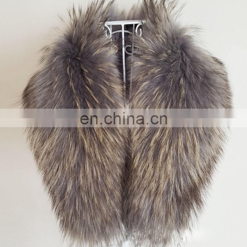 Grey wholesale genuine raccoon fur collar for lady women winter