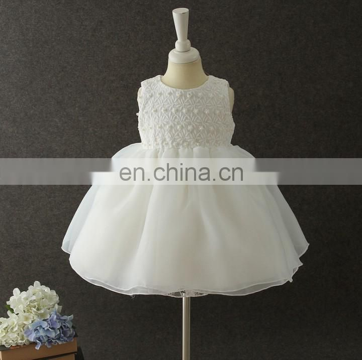 White Flower Baby Girl Dress Sleeveless Tulle Dress With Bow Wedding Christening Wear