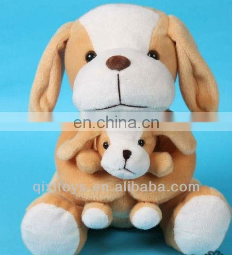 short plush mother and son dog