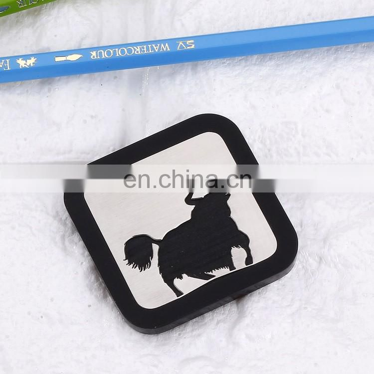 low price promotion customized logo cow painted coaster with silicon rubber case
