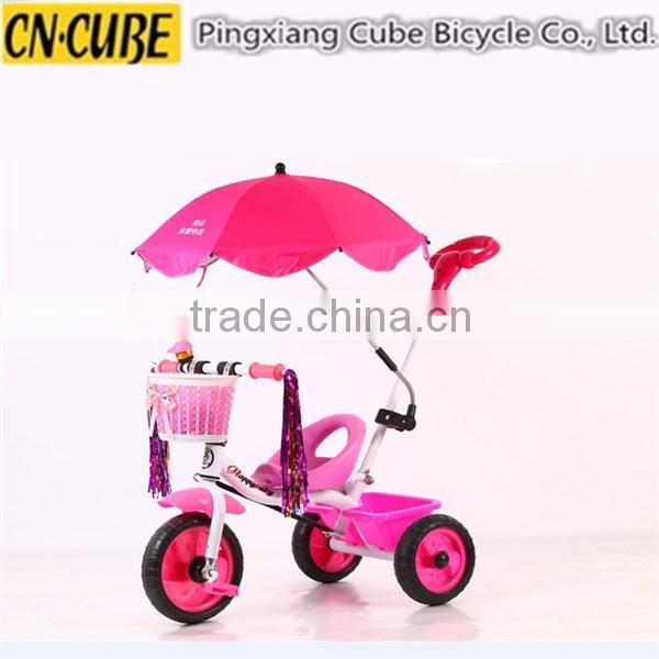 hand-push or foot energy children toys baby tricycle with umbrella from China factory