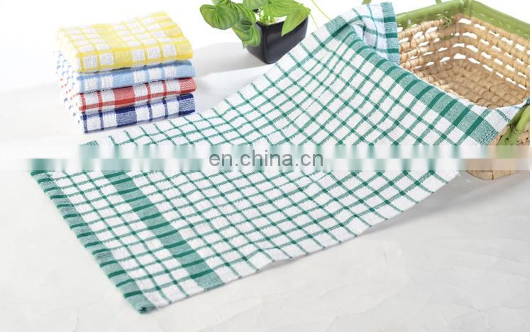 Hot sale blended towels soft and convenient plaid tea towels for home gift 35*58cm 47g