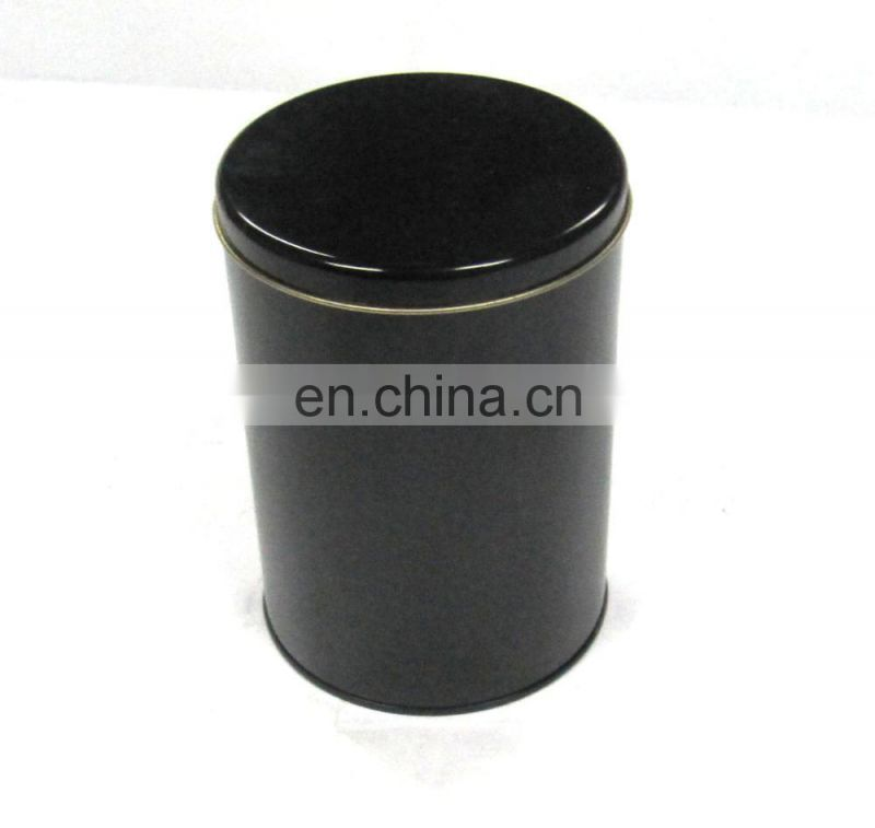 Black Round Metal Tin Box