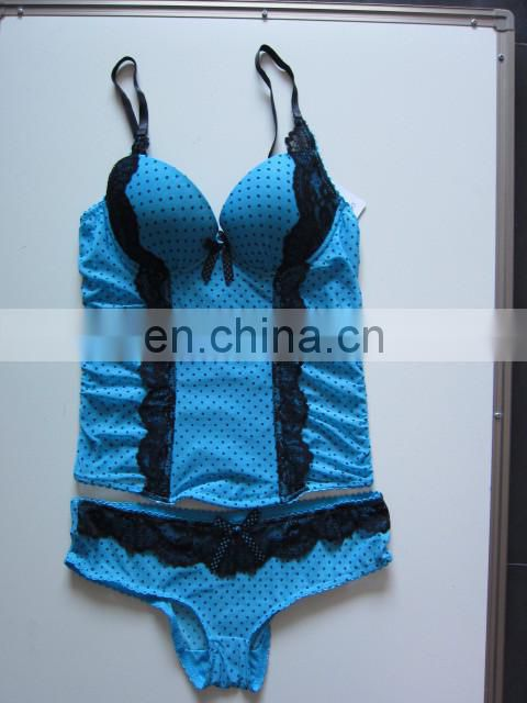 Lace sexy slim body shaper zebra lace blue brassiere thongs babydoll sexy lingerie (Miss Adola)