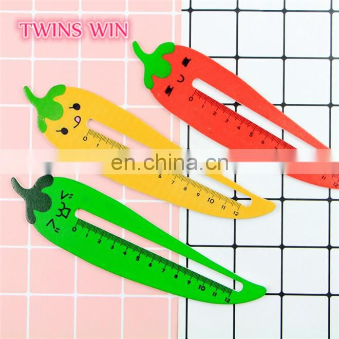 Latest popular korean kawaii stationery promotion High quality hot selling funny chili shaped wooden ruler for student