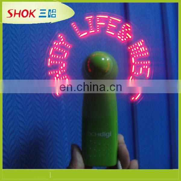 Fashional LED mini fan with slogan light message fan